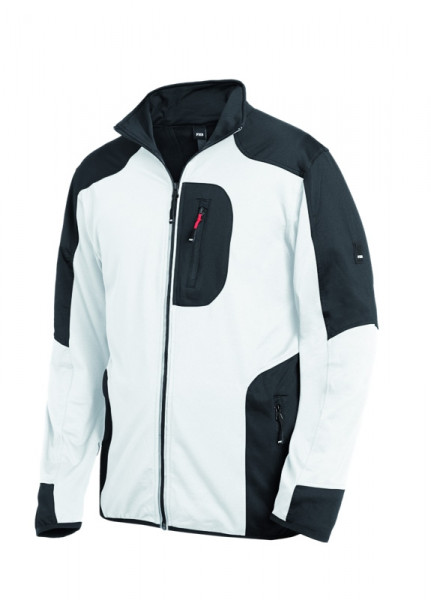FHB RALF Jersey-Fleece-Jacke, weiß-anthrazit