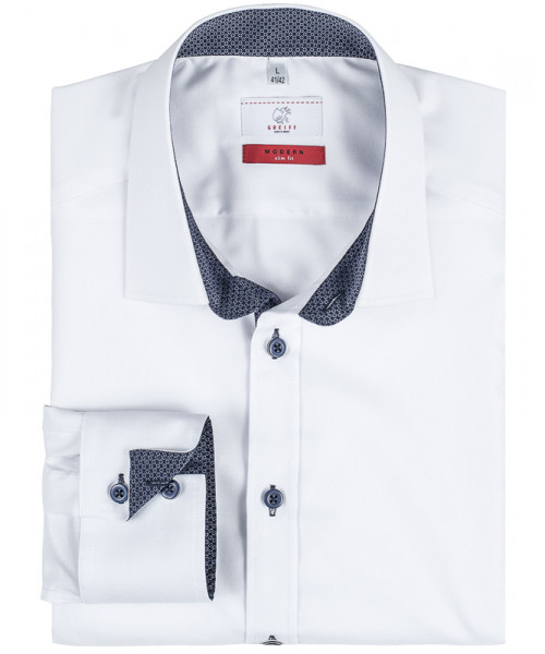GREIFF, Herren-Hemd 1/1 Slim Fit/weiß/Kontrast bla