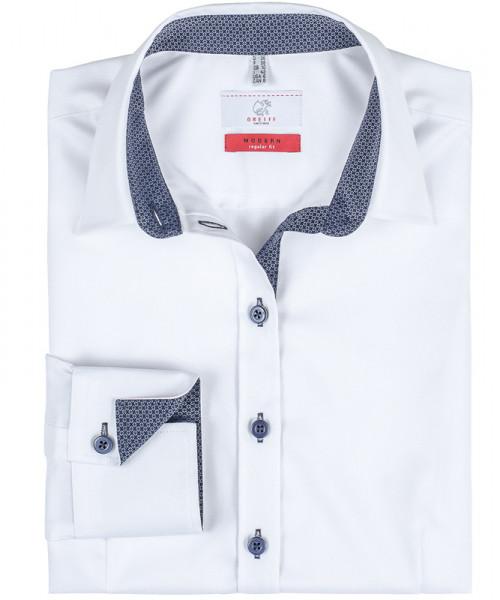 GREIFF, Damen-Bluse 1/1 Regular F/weiß/Besatz blau