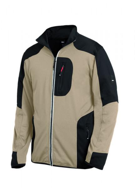 FHB RALF Jersey-Fleece-Jacke, beige-schwarz