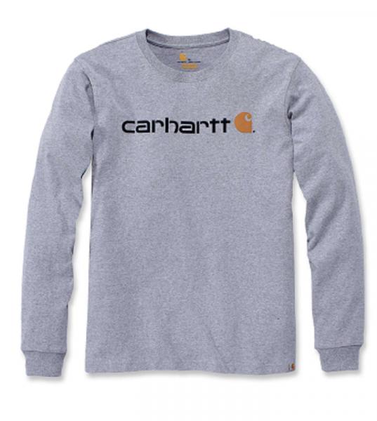 CARHARTT, CORE LOGO T-SHIRT L/S, HEATHER GREY, 104107