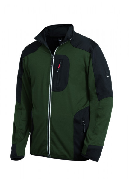FHB RALF Jersey-Fleece-Jacke, oliv-schwarz