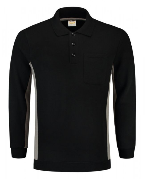 TRICORP, Sweatshirt Polokragen Bicolor Brusttasch, BlackGrey, 302001