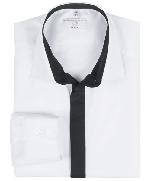 GREIFF Herren-Hemd 1/1 Regular F weiss/Besatz schwarz Blusen/Hemden/Strick 6725.1120.210 6725 1120 H