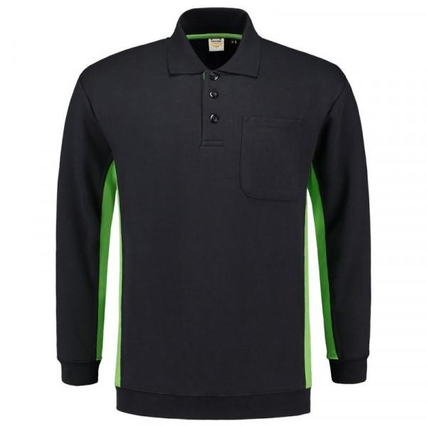 TRICORP, Sweatshirt Polokragen Bicolor Brusttasch, NavyLime, 302001