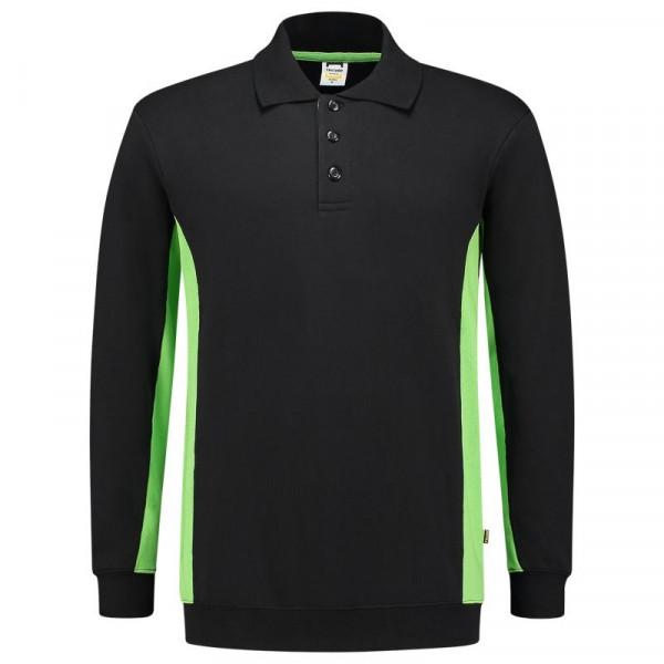 TRICORP, Sweatshirt Polokragen Bicolor, Blacklime, 302003
