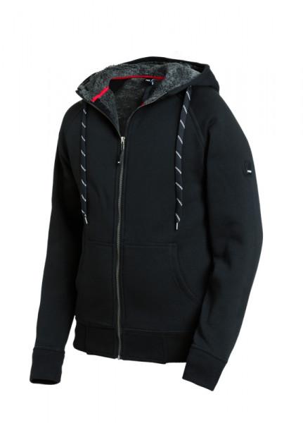FHB JÖRG Sweater-Jacke mit Kapuze & Webpelz, schw.