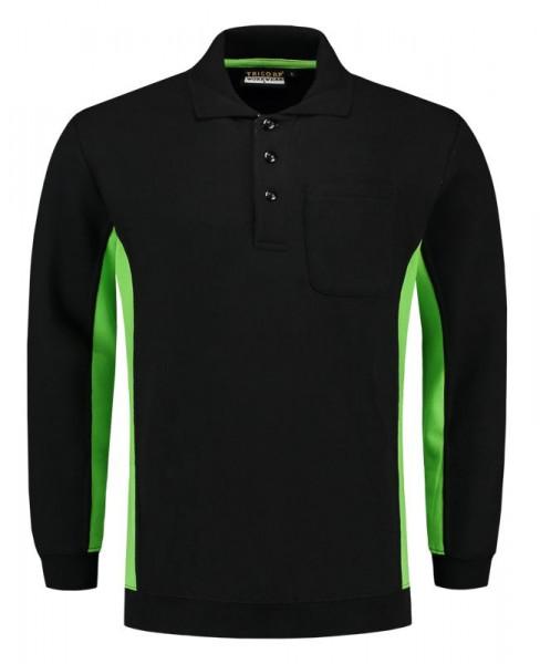 TRICORP, Sweatshirt Polokragen Bicolor Brusttasch, Blacklime, 302001
