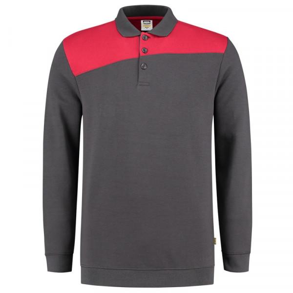 TRICORP, Sweatshirt Polokragen Bicolor Quernaht, DgreyRed, 302004