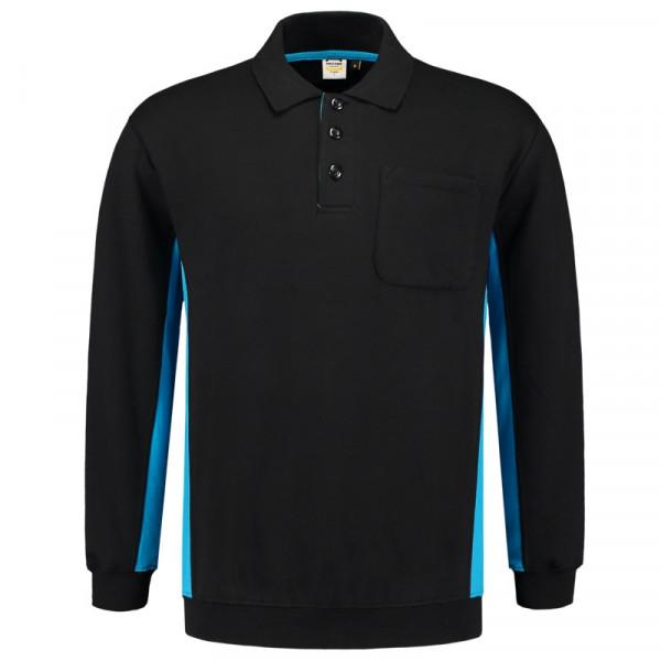 TRICORP, Sweatshirt Polokragen Bicolor Brusttasch, Blackturq, 302001