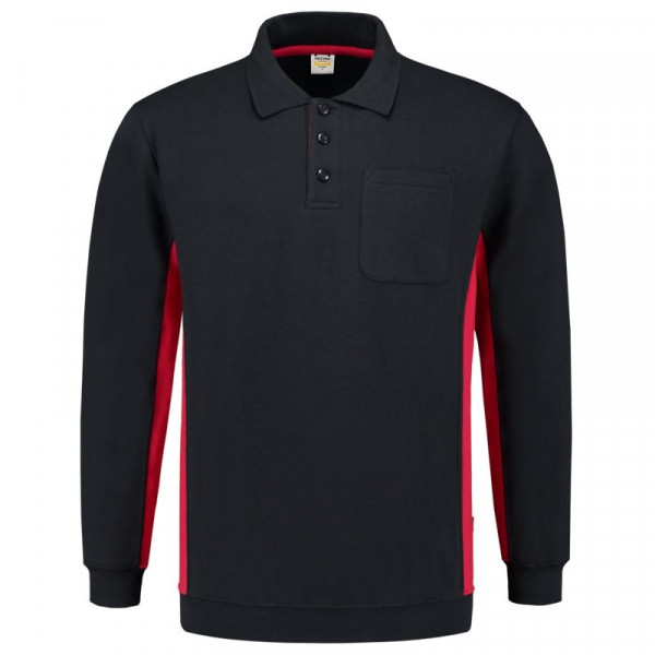 TRICORP, Sweatshirt Polokragen Bicolor Brusttasch, NavyRed, 302001