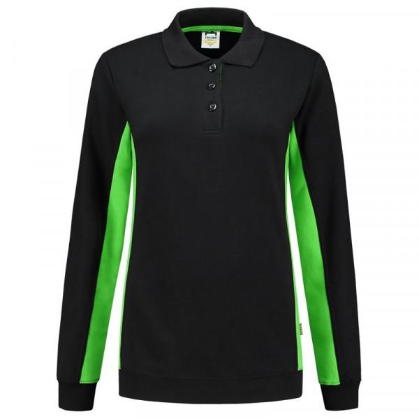 TRICORP, Sweatshirt Polokragen Bicolor Damen, Blacklime, 302002
