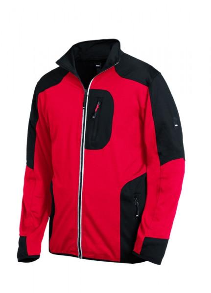 FHB RALF Jersey-Fleece-Jacke, rot-schwarz