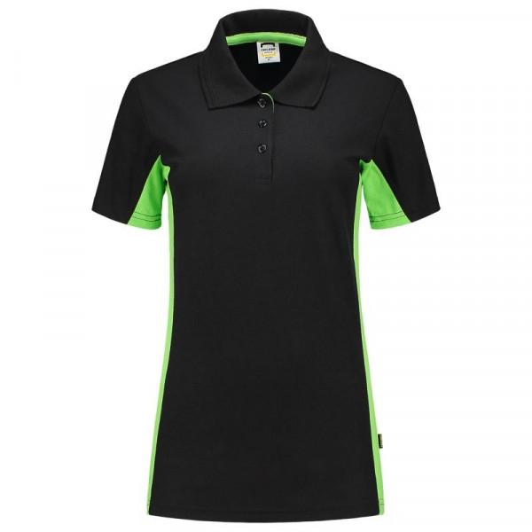 TRICORP, Poloshirt Bicolor Damen, Blacklime, 202003