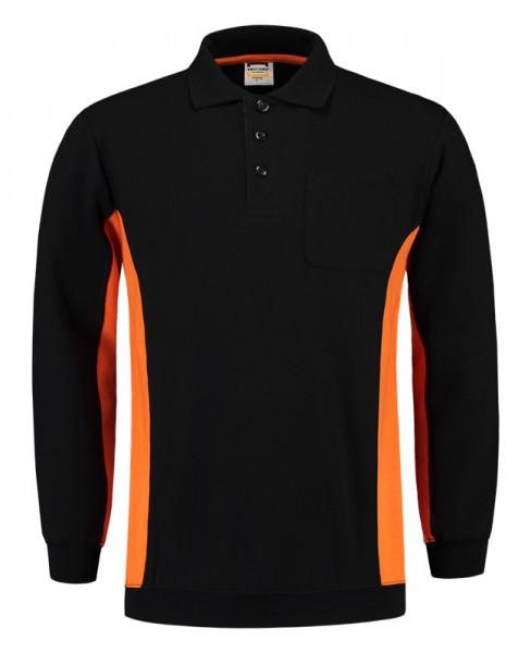 TRICORP, Sweatshirt Polokragen Bicolor Brusttasch, Blackoran, 302001