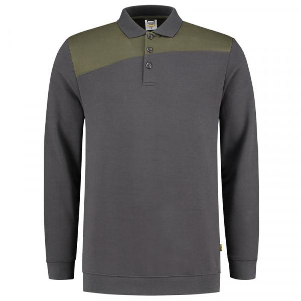 TRICORP, Sweatshirt Polokragen Bicolor Quernaht, DgreyArmy, 302004