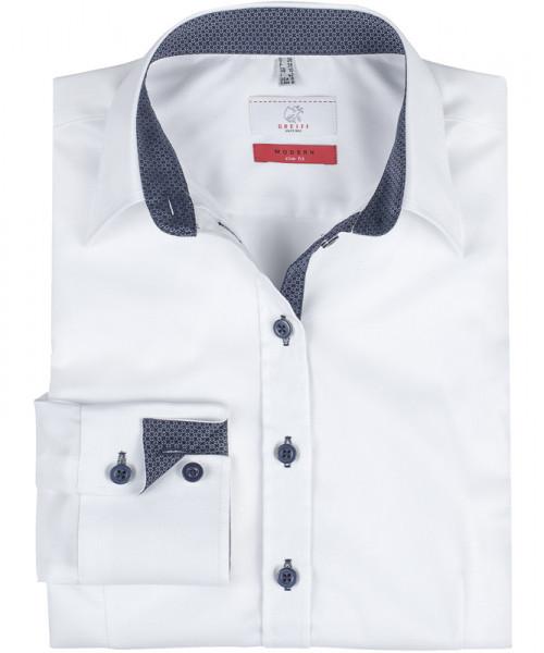 GREIFF, Damen-Bluse 1/1 Slim Fit/weiß/Kontrast bla