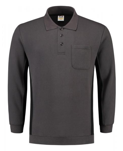 TRICORP, Sweatshirt Polokragen Bicolor Brusttasch, DgreyBlack, 302001
