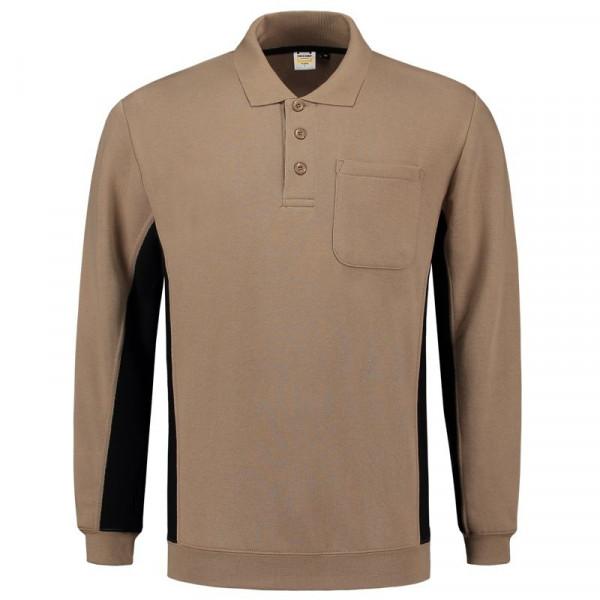 TRICORP, Sweatshirt Polokragen Bicolor Brusttasch, Khakiblack, 302001