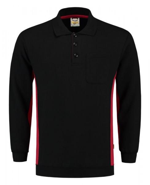 TRICORP, Sweatshirt Polokragen Bicolor Brusttasch, Blackred, 302001
